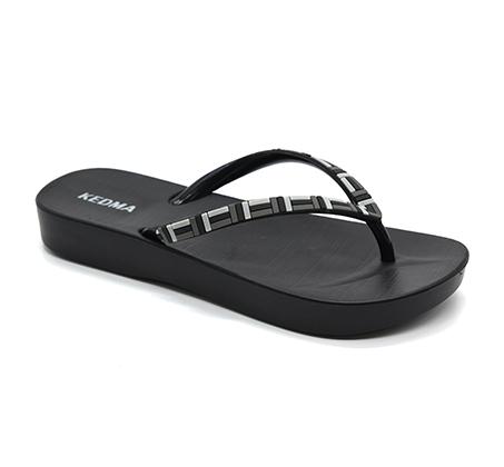 נעלי אצבע בהדפס פסים לנשים - שחור
