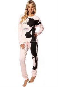 חליפת פנאי אינטרלוק לנשים הפנתר הורוד בצבעים אפור או ורוד בייבי