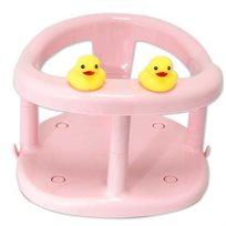 כיסא טבעת אמבטיה לתינוק עם כריות ואקום וברווזי גומי - ורוד