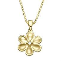 תליון יהלום סוליטר בצורת פרח עם שרשרת זהב