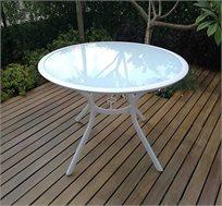 שולחן עגול לגינה משולב זכוכית מחוסמת