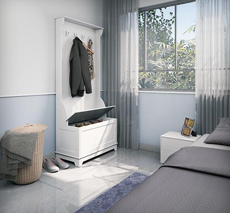 שידה מעוצבת לבית בעלת חלל אחסון גדול בצבע לבן RAZCO - תמונה 2