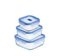 קופסאות אחסון מזכוכית לאוכל בגדלים שונים Luminarc מסדרת Purebox Active