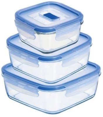 סט 3 קופסאות אחסון מרובעות מזכוכית בגדלים שונים Luminarc תוצרת צרפת - משלוח חינם