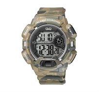 שעון יד דיגיטלי לגבר עם תאורה, סטופר, טיימר ושעון מעורר Q&Q