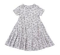 שמלה מסתובבת בהגזמה בצבע אפור בשילוב הדפס כוכבים