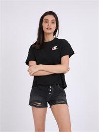 Champion נשים - לוגו טי שרט שחורה