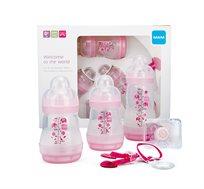 מארז ערכת לידה הכוללת 2 בקבוקי אנטי קוליק, בקבוק אנטי קוליק, מוצץ 0-2 ומחזיק מוצץ MAM
