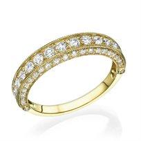 טבעת נישואין וינטאג' 1.25 קראט מזהב צהוב או לבן לבחירה