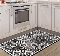 שטיח מעוצב דגם אקלקטי שחור לבן בגדלים לבחירה