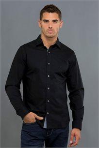 חולצה מכופתרת לגברים - שחור