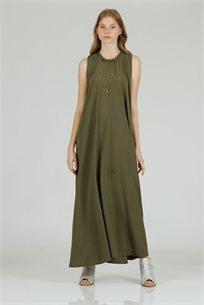 שמלה סאטן מקסי גומי ירוק - קקאו