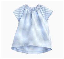 חולצת פסים קצרה לילדות בצבעי לבן וכחול