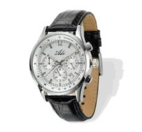שעון יד לגבר מבית ADI בעיצוב אלגנטי גברי ומחוספס, עשוי פלדת אל חלד בשילוב רצועת עור אמיתי