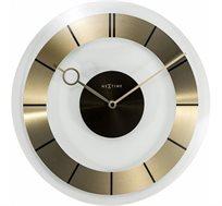 שעון קיר עשוי זכוכית משולב פס מתכת בצבע זהב