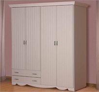 ארון בגדים עם ארבע דלתות עשוי עץ משולב לביד דגם יהלי