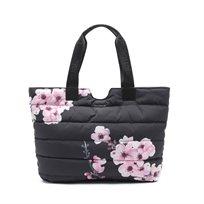 Desigual Bols Fluff Altea Mini No Revo - תיק יד קל משקל שחור בהדפס פרחים ורודים