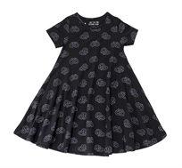 שמלה מסתובבת בהגזמה בצבע שחור בשילוב הדפס בייגלה