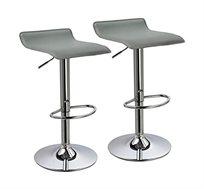 זוג כסאות לבר מעוצבים מדמוי עור PU עם רגל מתכת מצופה ניקל מבריק