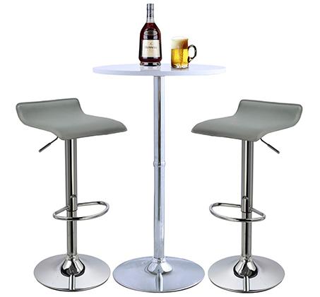 זוג כסאות לבר מעוצבים מדמוי עור PU עם רגל מתכת מצופה ניקל מבריק - תמונה 3