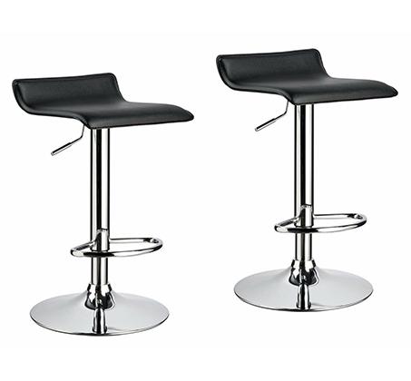 זוג כסאות לבר מעוצבים מדמוי עור PU עם רגל מתכת מצופה ניקל מבריק - תמונה 4