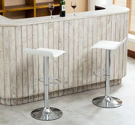 זוג כסאות לבר מעוצבים מדמוי עור PU עם רגל מתכת מצופה ניקל מבריק - תמונה 5