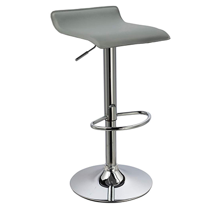 זוג כסאות לבר מעוצבים מדמוי עור PU עם רגל מתכת מצופה ניקל מבריק - תמונה 2