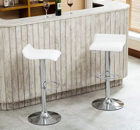 זוג כסאות לבר מעוצבים מדמוי עור PU עם רגל מתכת מצופה ניקל מבריק - תמונה 6