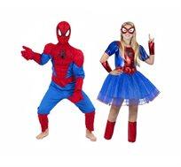 תחפושת זוגית - ספיידרמן וספיידר גירל לילדים ונערות
