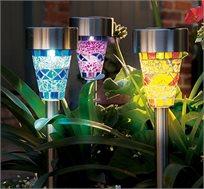 שלישיית תאורת דוקרני לד בסגנון פסיפס בצבעים שונים לשדרוג והארת הגינה
