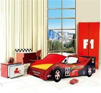 מיטת ילדים בעיצוב מכונית, כולל עיצוב גלגלים בולט מגוף המיטה ותאורת לד זוהרת בחזית המיטה מבית Homax