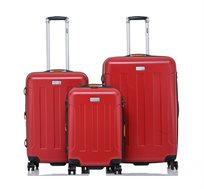 סט 3 מזוודות בגדלים שונים JEEP MIAMI בצבע אדום