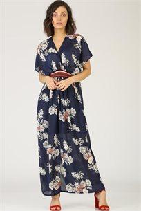 שמלה שיפון פרחים כחול
