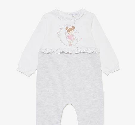 אוברול שינה OVS לתינוקות עם הדפס נוצץ - לבן