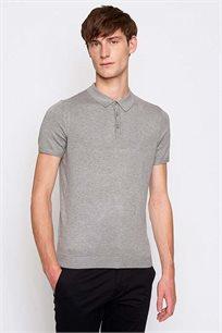 חולצת פולו קצרה לגבר DEVRED - אפור בהיר