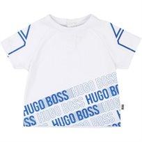 BOSS בוס טישרט (3 חודשים-3 שנים) - לבן סמלים כחולים