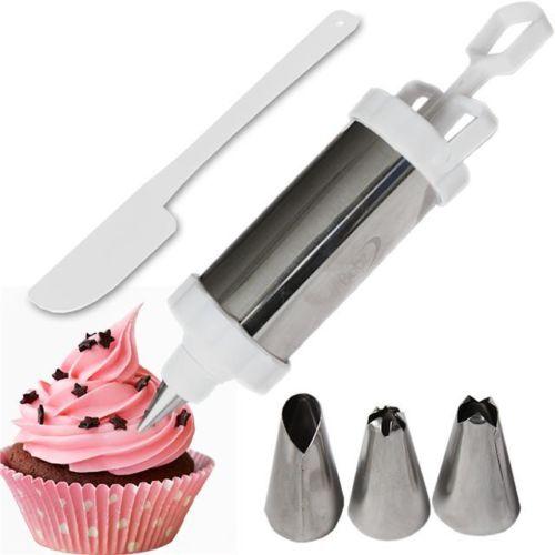 מזרק לעוגה עם 3 פיות מתחלפות + לקקן