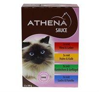 12 מעדנים סופר פרימיום ברוטב לחתולים בטעמים ATHENA