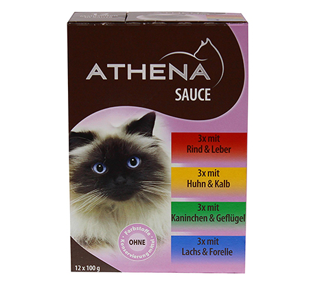 מארז 12 מעדנים ברוטב לחתול ATHENA