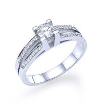 """טבעת אירוסין זהב לבן  """"אלינור"""" 0.60 קראט בשיבוץ יהלומים"""