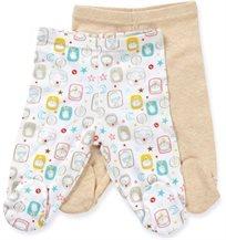 זוג רגליות לתינוק כותנה טריקו מידה 0-3 - בז'