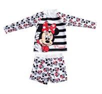 סט בגד ים שרוול ארוך מיני מאוס לתינוקות - שחור/לבן