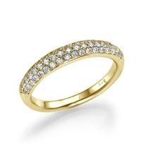 """טבעת אירוסין זהב צהוב """"פאריס"""" 0.60 קראט בשיבוץ פאווה"""
