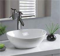 כיור מונח בעיצוב מרהיב ומודרני עשוי חרס בצבע לבן, מבית חרש, ב-4 דגמים לבחירה