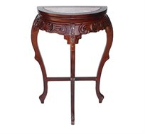 שידה מעץ חצי עגולה רוזווד בעיצוב קלאסי עם גילופים בעבודת יד ושיש בחלק העליון