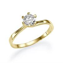 """טבעת אירוסין זהב צהוב """"אמנדה"""" 0.41  בעיצוב קלאסי"""