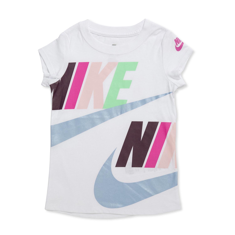 Nike ילדים- חולצה לבנה לוגו צבעוני