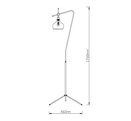 מנורת עמידה פעמון שון-ביתילי העשוי זכוכית בגוון קוניאק בשילוב גוף ובית מנורה מתכתי בגימור נחושת - משלוח חינם - תמונה 2