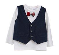 חולצת שרוול ארוך עם וסט ופפיון לפעוטות בצבע לבן