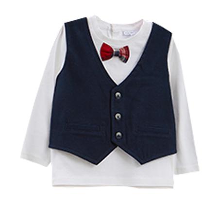 חולצת OVS שרוול ארוך עם וסט ופפיון לפעוטות - לבן